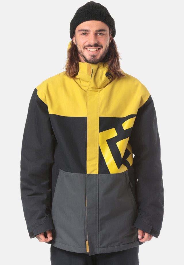 Snowboard jacket - black/dark grey/yellow