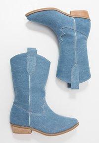 L37 - ON THE ROCKS - Cowboy/Biker boots - blue denim - 3