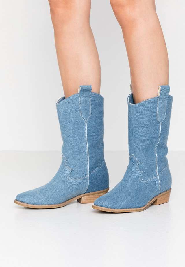 ON THE ROCKS - Cowboy/Biker boots - blue denim
