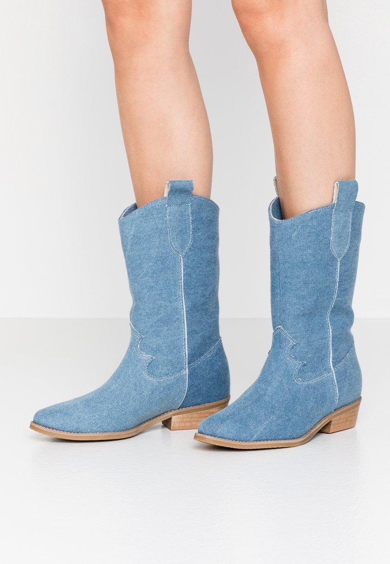 L37 - ON THE ROCKS - Cowboy/Biker boots - blue denim
