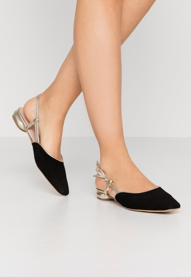 DAYLIGHT - Slingback ballet pumps - black/gold