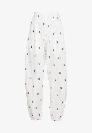 HIGH WAIST PANTS MEDAL - Pantaloni - ecru