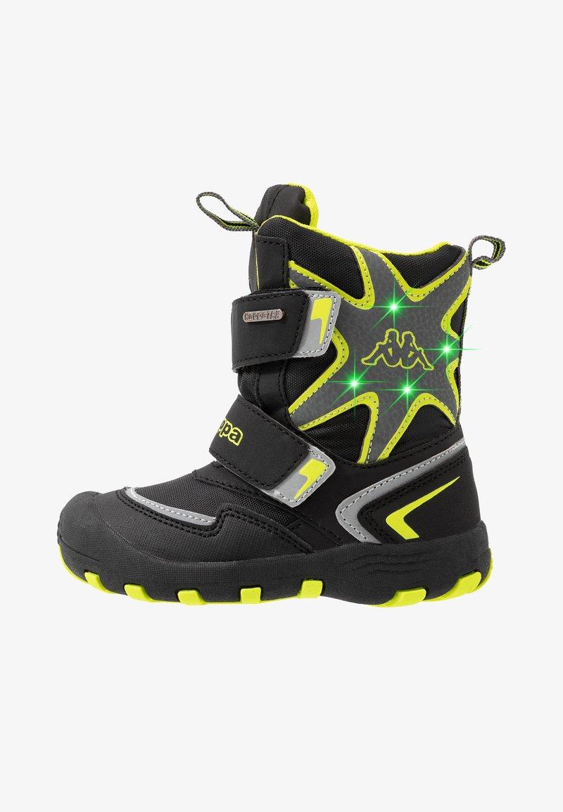 Kappa - KAPOW HIGH TEX - Zimní obuv - black/lime