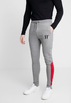 PANELLED BLOCK JOGGER SKINNY FIT - Pantalon de survêtement - mid grey marl/ski patrol red
