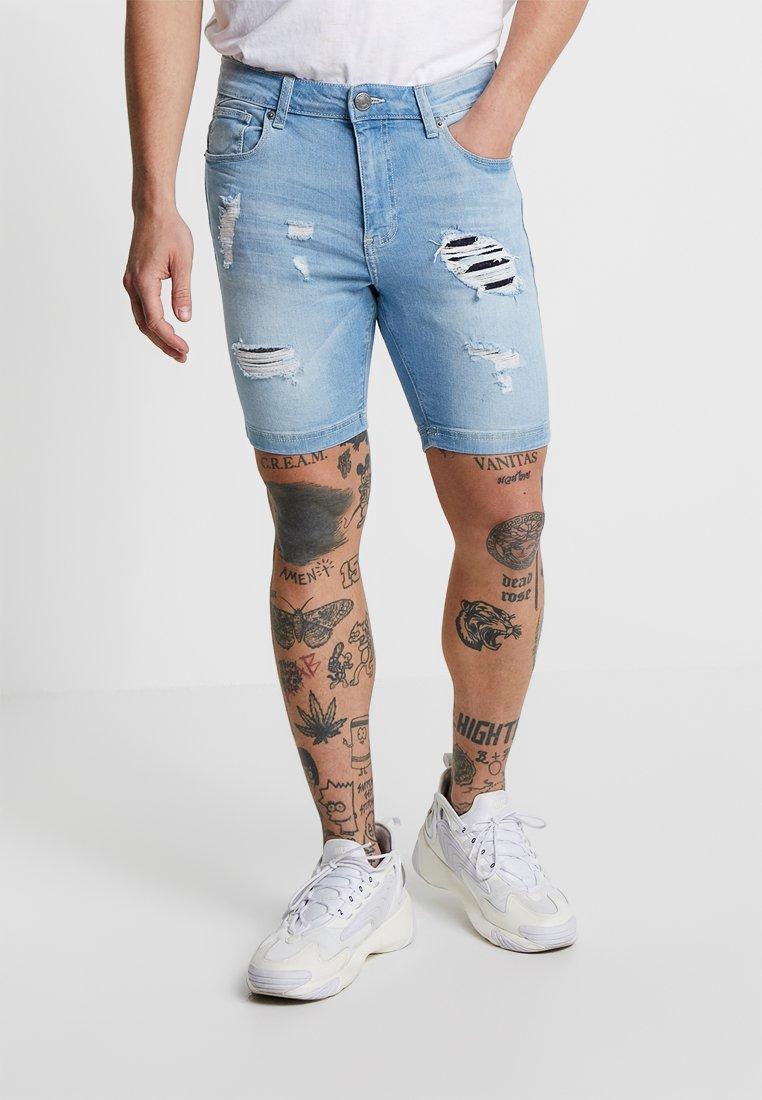 11 DEGREES - RIP AND REPAIR - Short en jean - stone
