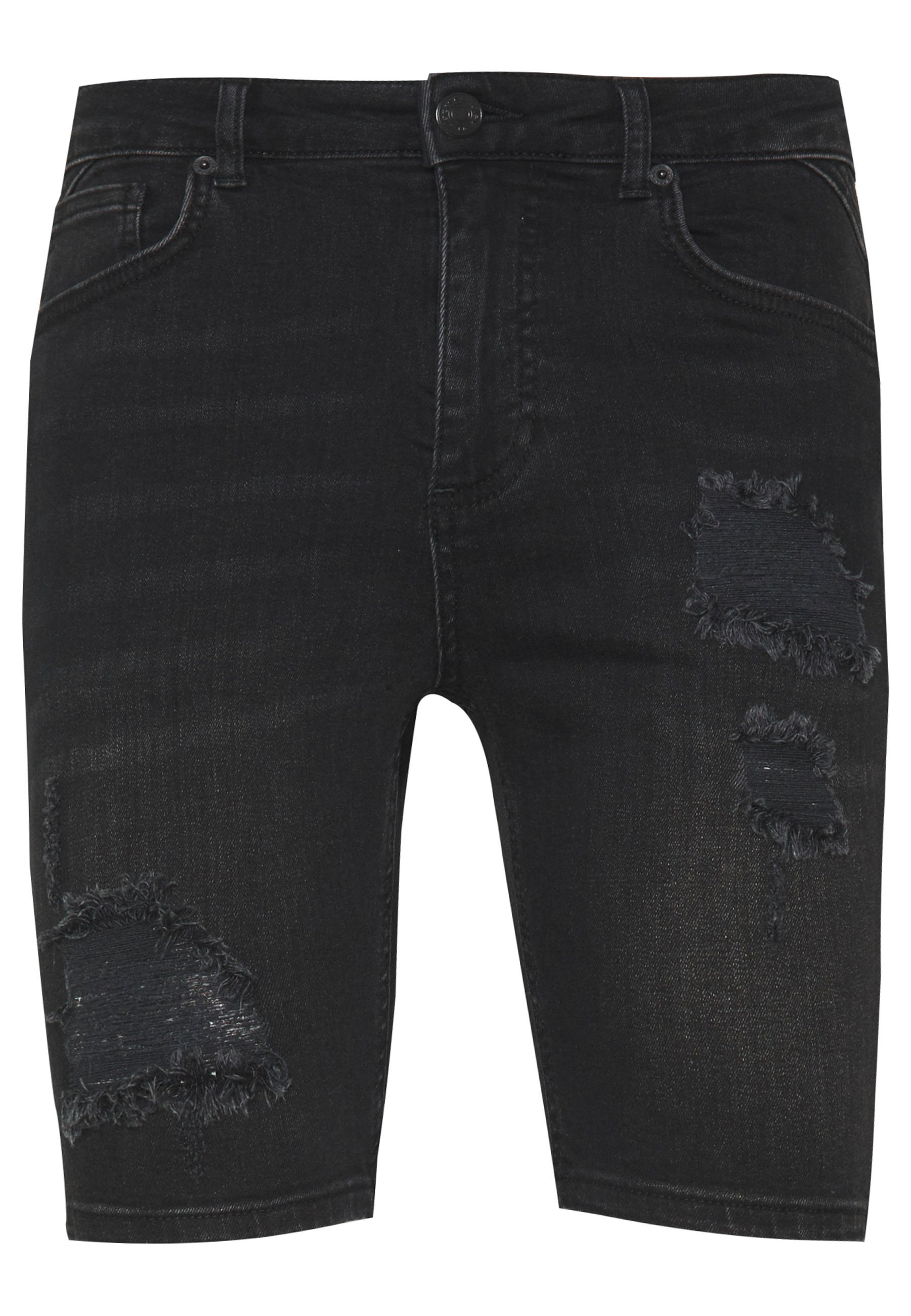 11 DEGREES RIP AND REPAIR - Szorty jeansowe - washed black