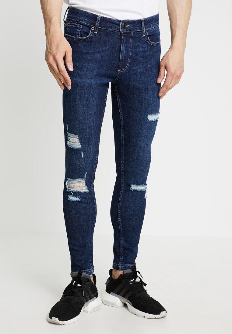 11 DEGREES - ESSENTIAL SUPER STRETCH DISTRESSED - Skinny džíny - indigo wash