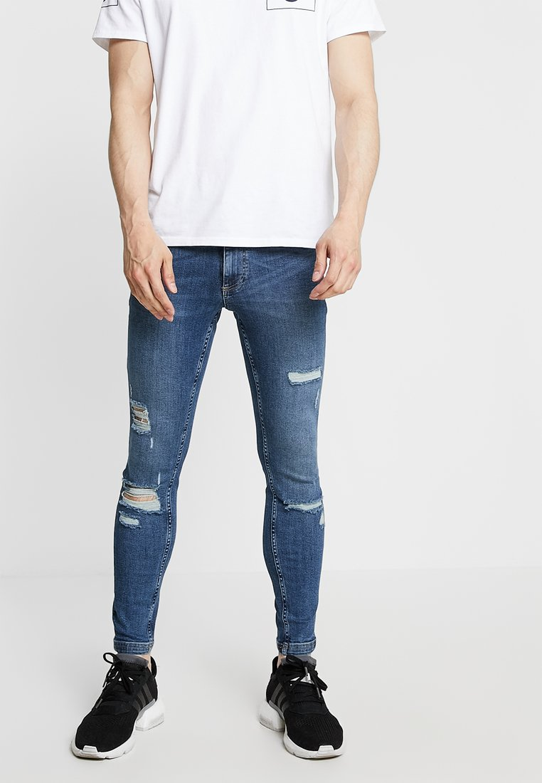 11 DEGREES - ESSENTIAL SUPER STRETCH DISTRESSED - Jeans Skinny Fit - mid blue wash