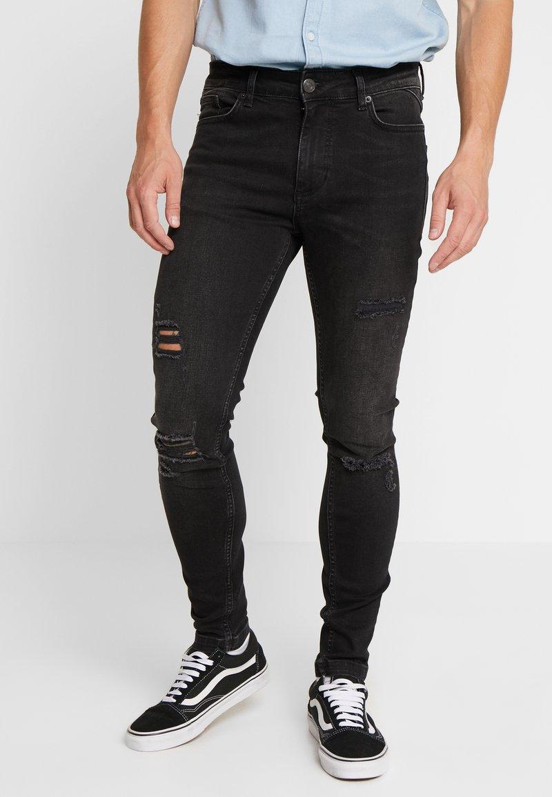 11 DEGREES - ESSENTIAL SUPER STRETCH DISTRESSED - Skinny džíny - washed black