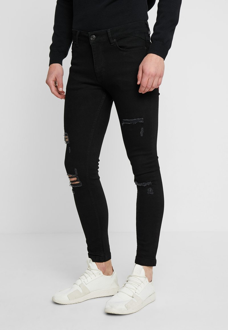 11 DEGREES - ESSENTIAL DISTRESSED - Jeans Skinny Fit - jet black wash