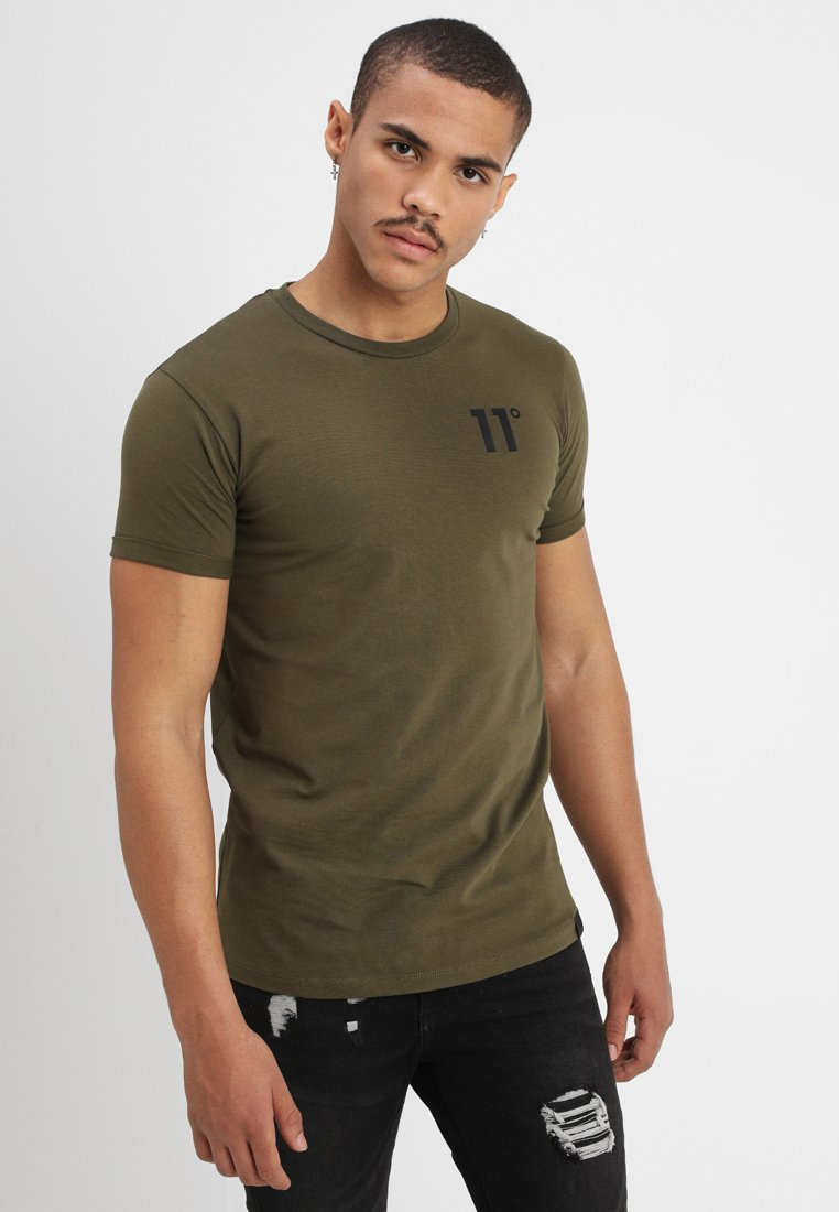 11 DEGREES CORE MUSCLE FIT - T-shirt z nadrukiem - khaki
