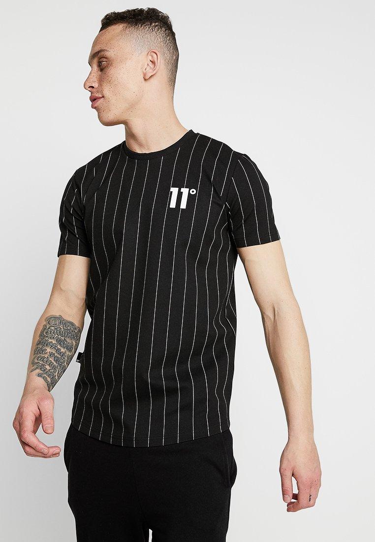 11 DEGREES - STRIPE - Print T-shirt - black/white