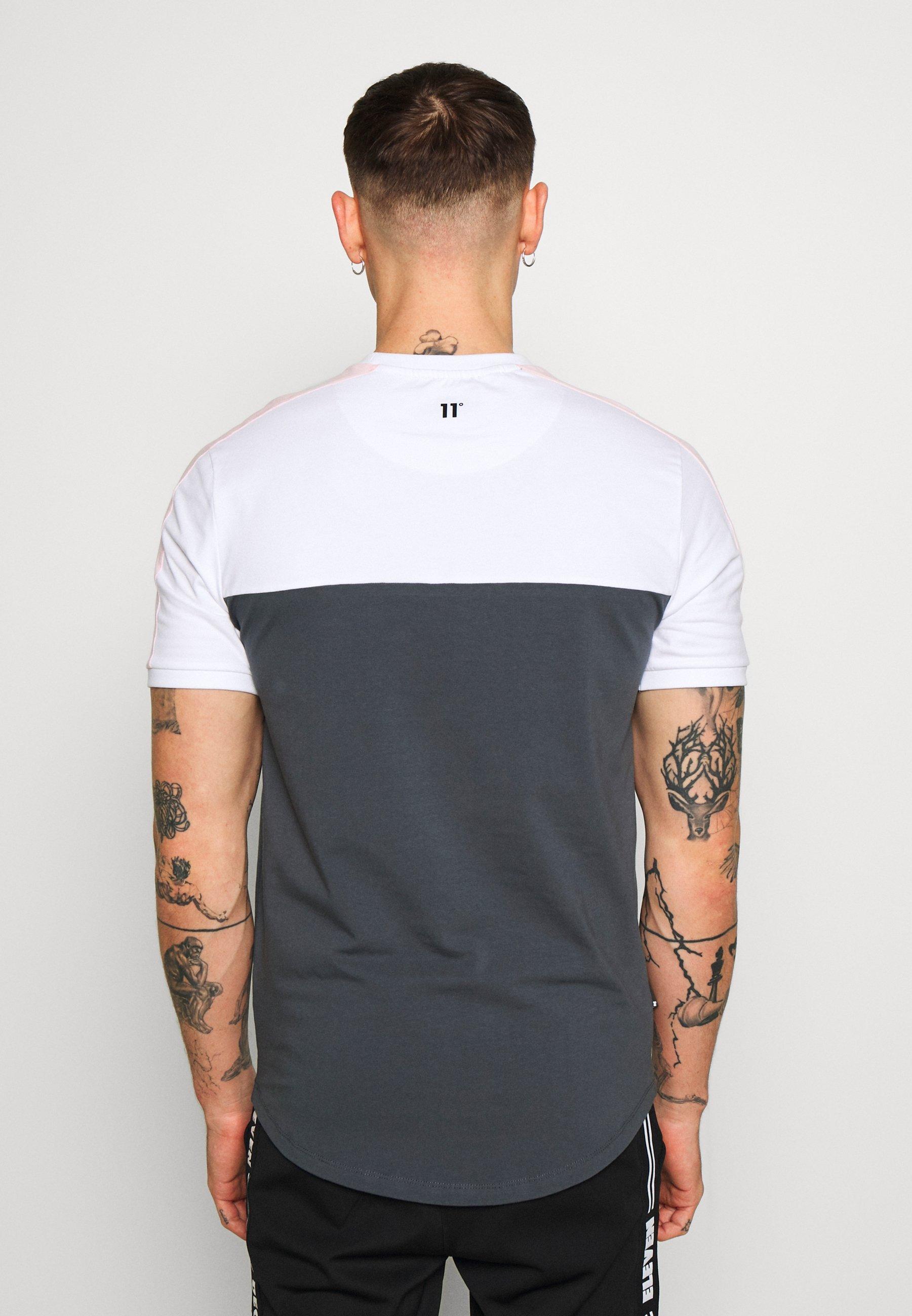 11 Degrees Panel Block - T-shirt Imprimé Anthracite/white/powder Pink