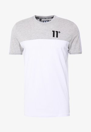 PANEL BLOCK - T-shirt print - white, light grey marl & evening haze lilac