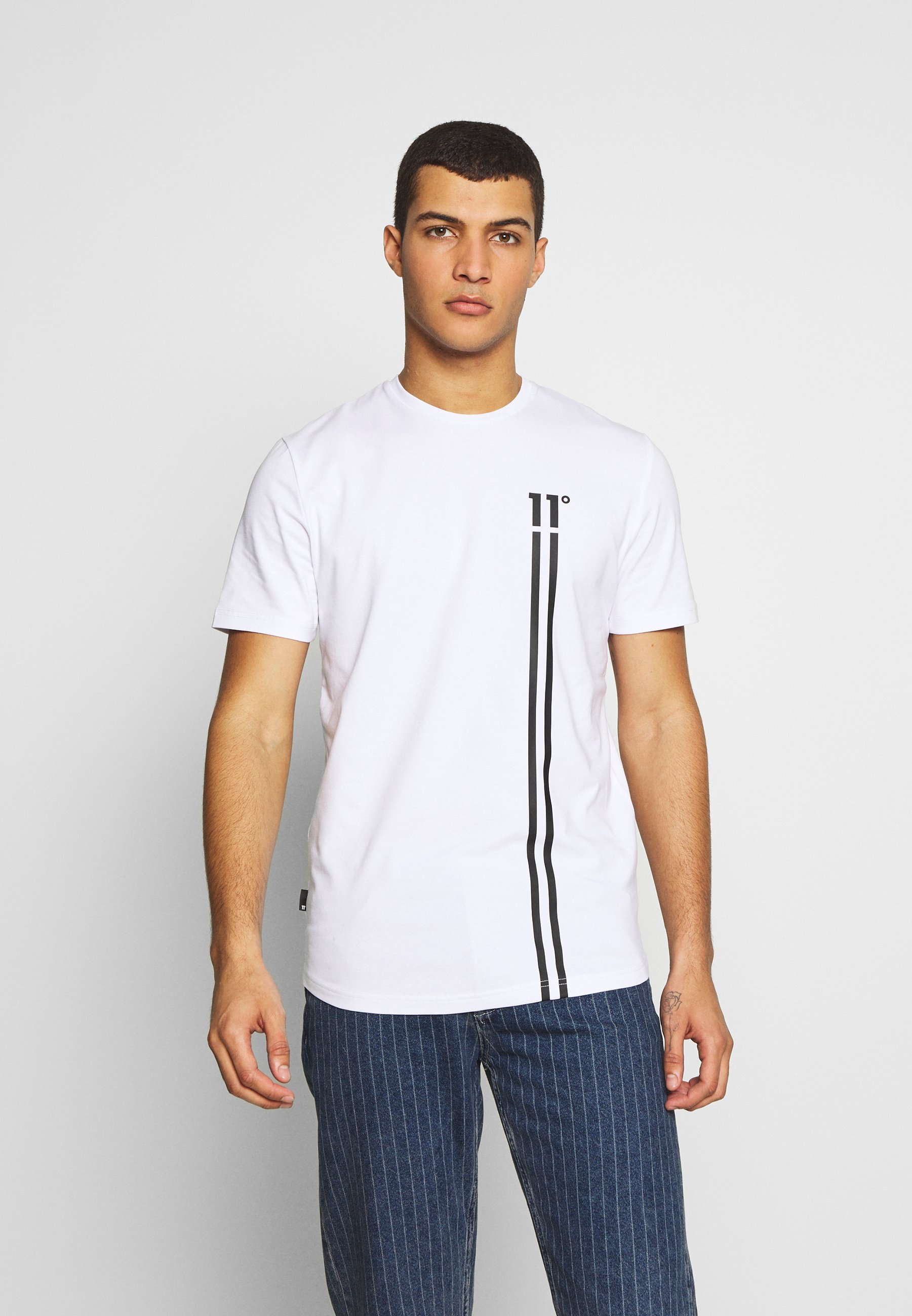 11 DEGREES STRIPE LOGO - Print T-shirt - white