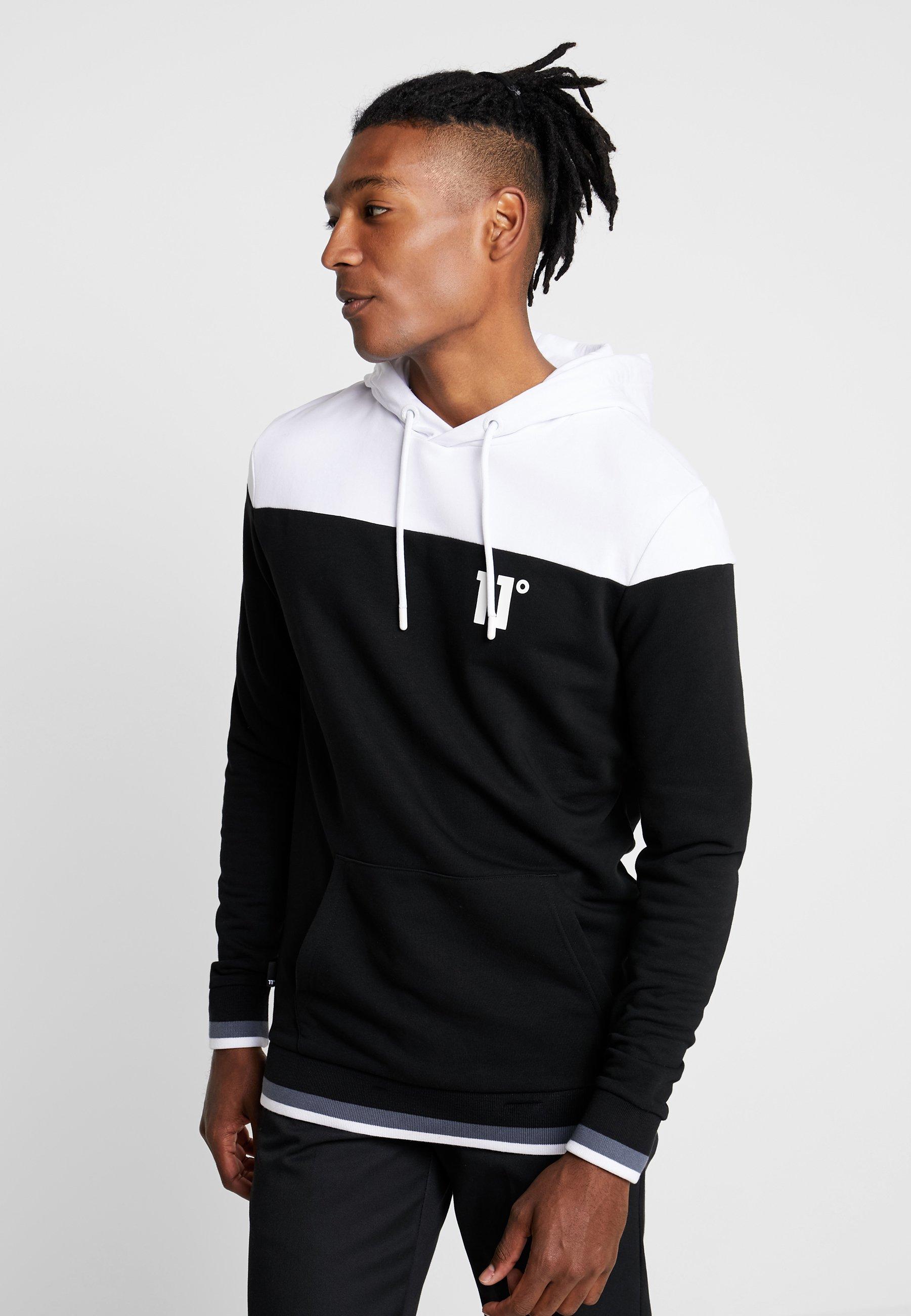 11 DEGREES CUT & SEW RIBBED OVERHEAD HOODIE - Bluza z kapturem - white/black