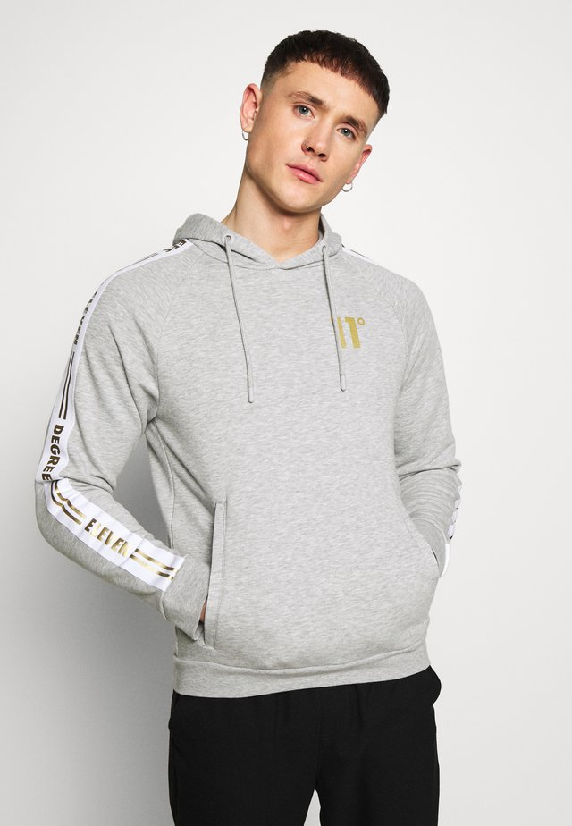 TAPED HOODIE - Kapuzenpullover - light grey marl/gold