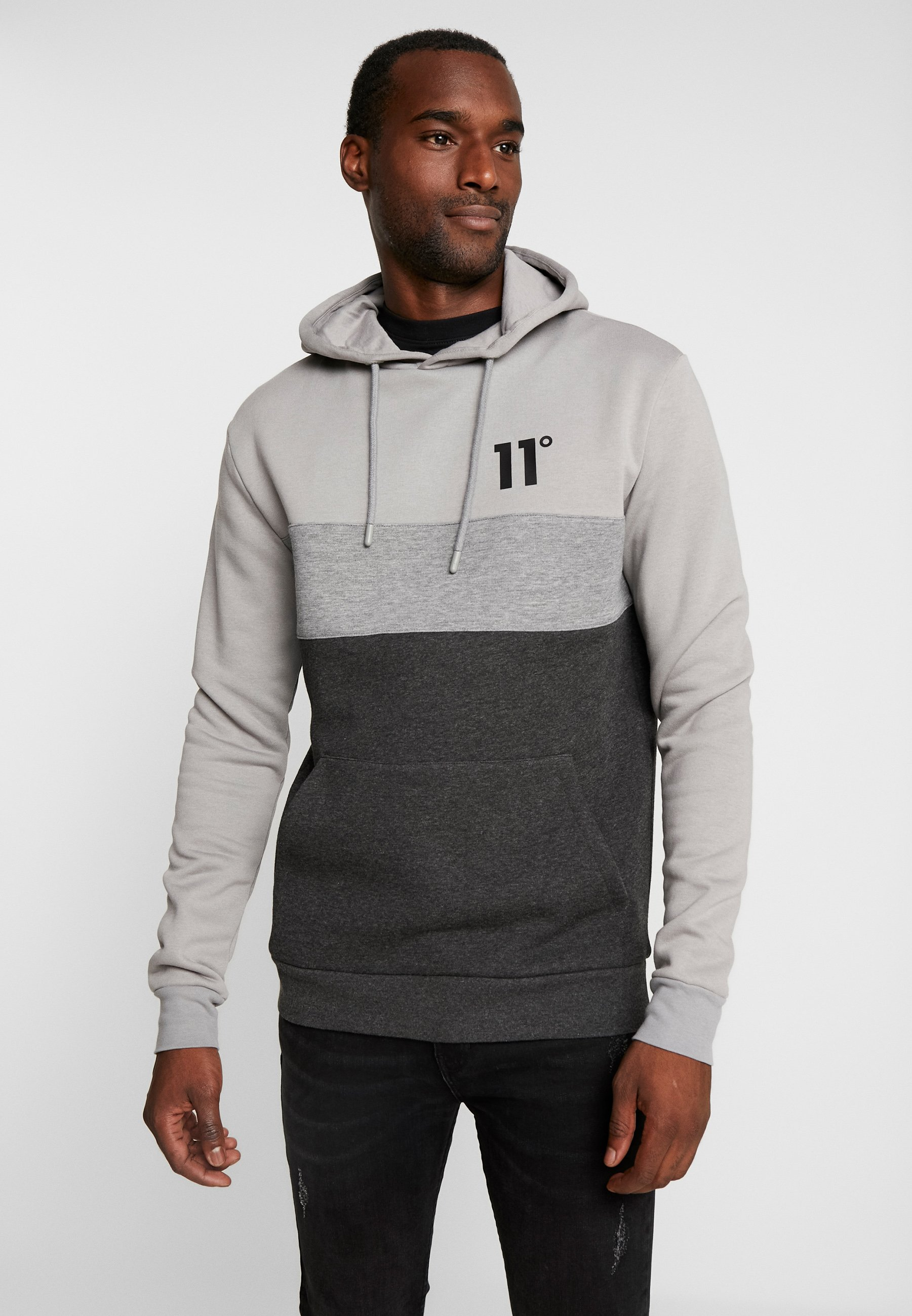 11 DEGREES TRIPLE PANEL HOODIE - Bluza z kapturem - anthracite marl/mid grey/silver