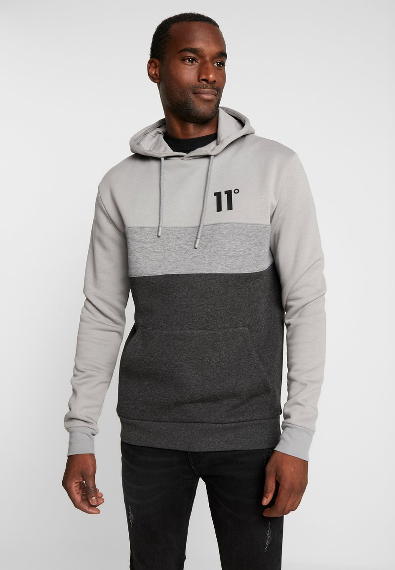 11 DEGREES - TRIPLE PANEL HOODIE - Mikina skapucí - anthracite marl/mid grey/silver