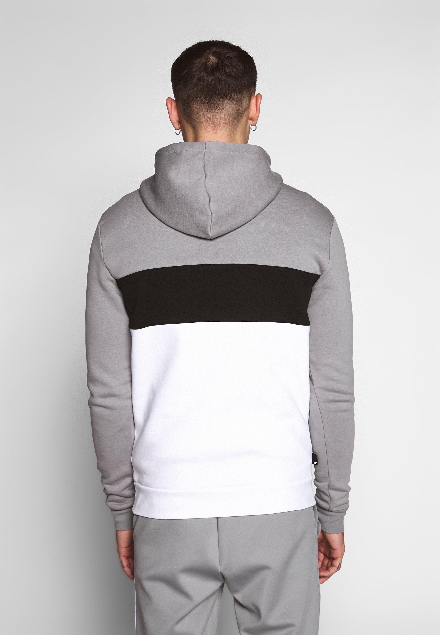 11 DEGREES TRIPLE PANEL HOODIE - Sweat à capuche - silver/white/black