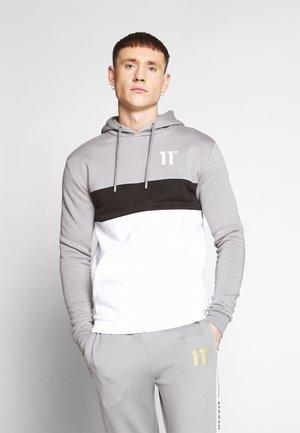 TRIPLE PANEL HOODIE - Hoodie - silver/white/black