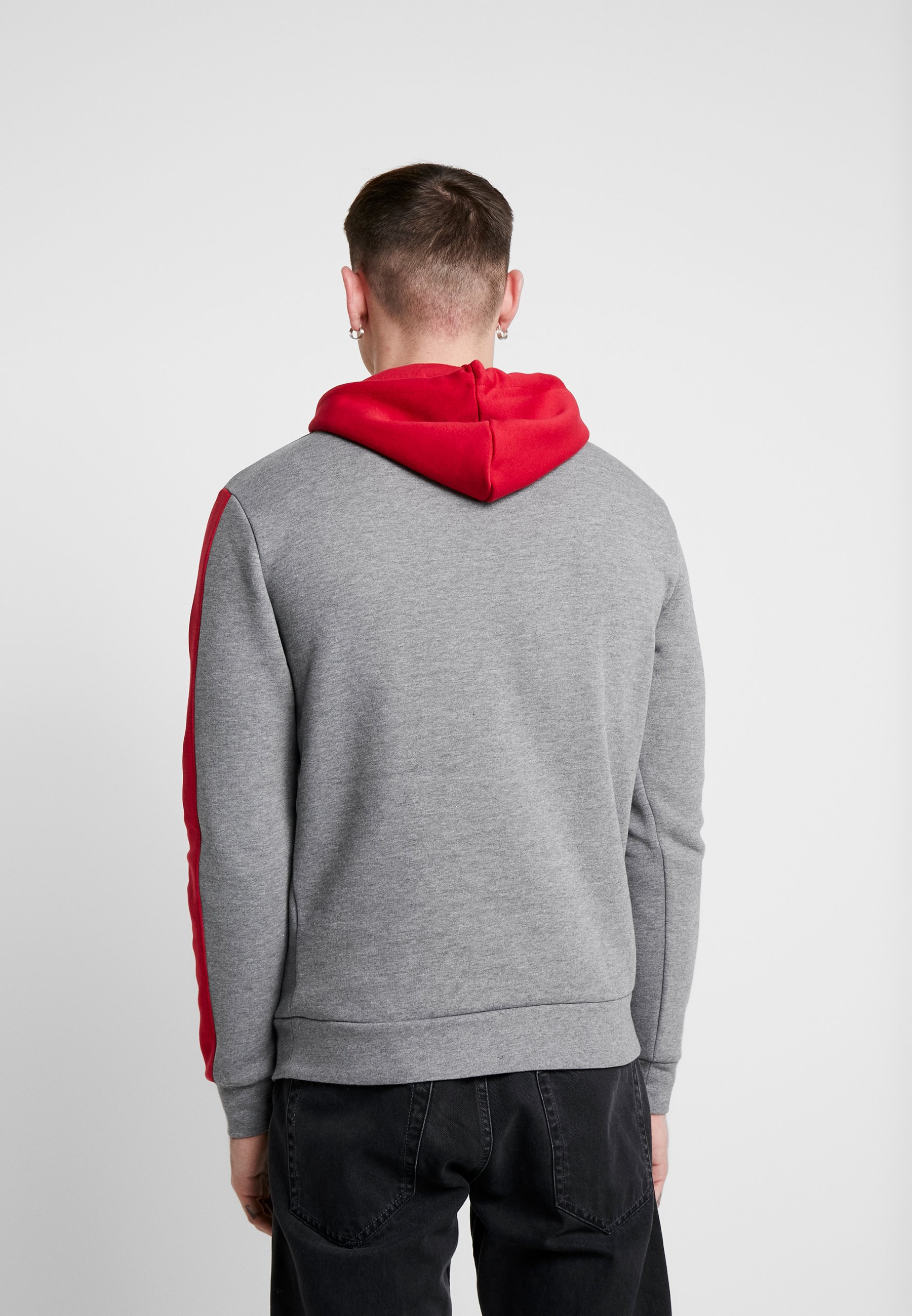 11 Degrees Panelled Hoodie - Kapuzenpullover Mid Grey Marl/ski Patrol Red Black Friday