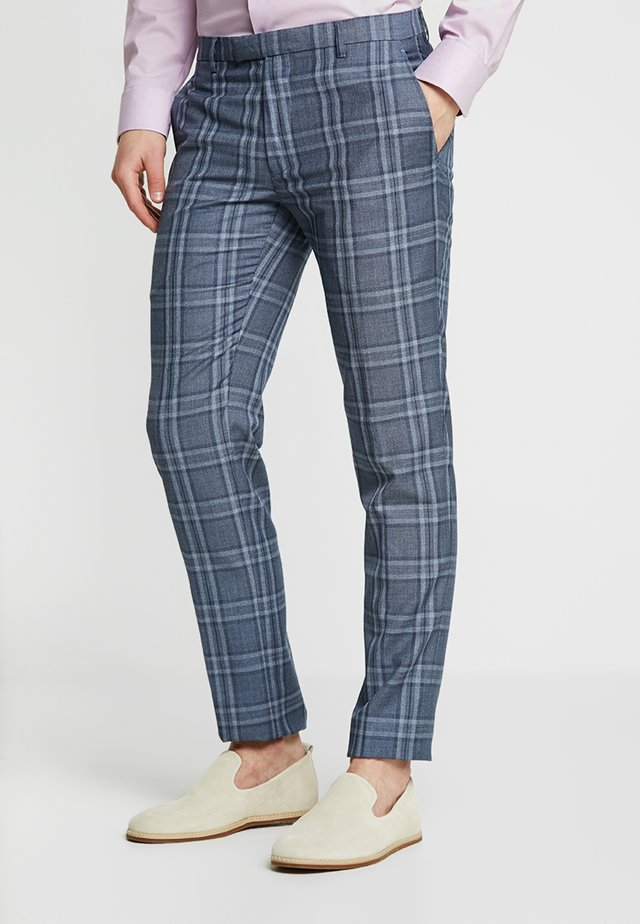 QUINN LARGE CHECK SUIT TROUSER - Pantaloni eleganti - light grey