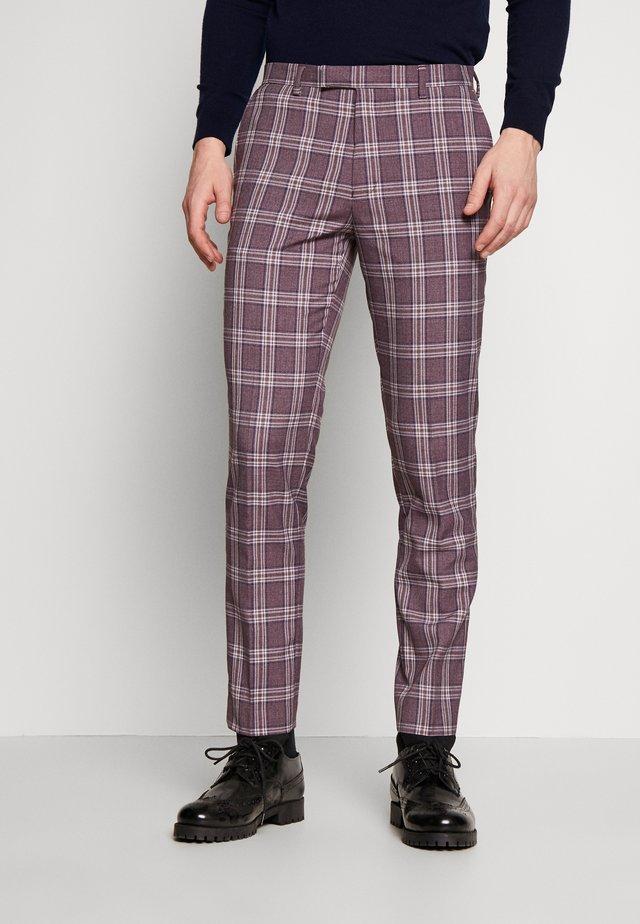 DARWIN SUIT BURG - Spodnie garniturowe - purple melange