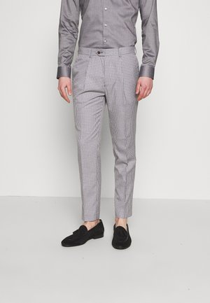 POULSDEN TAPERED GINGHAM - Suit trousers - blue