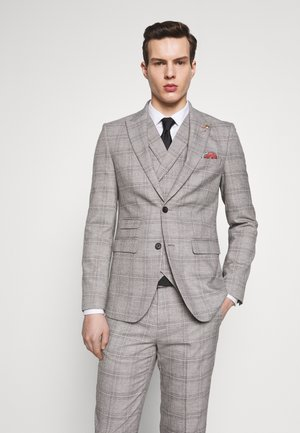 JASPE CHECK JACKET - Suit jacket - mid grey
