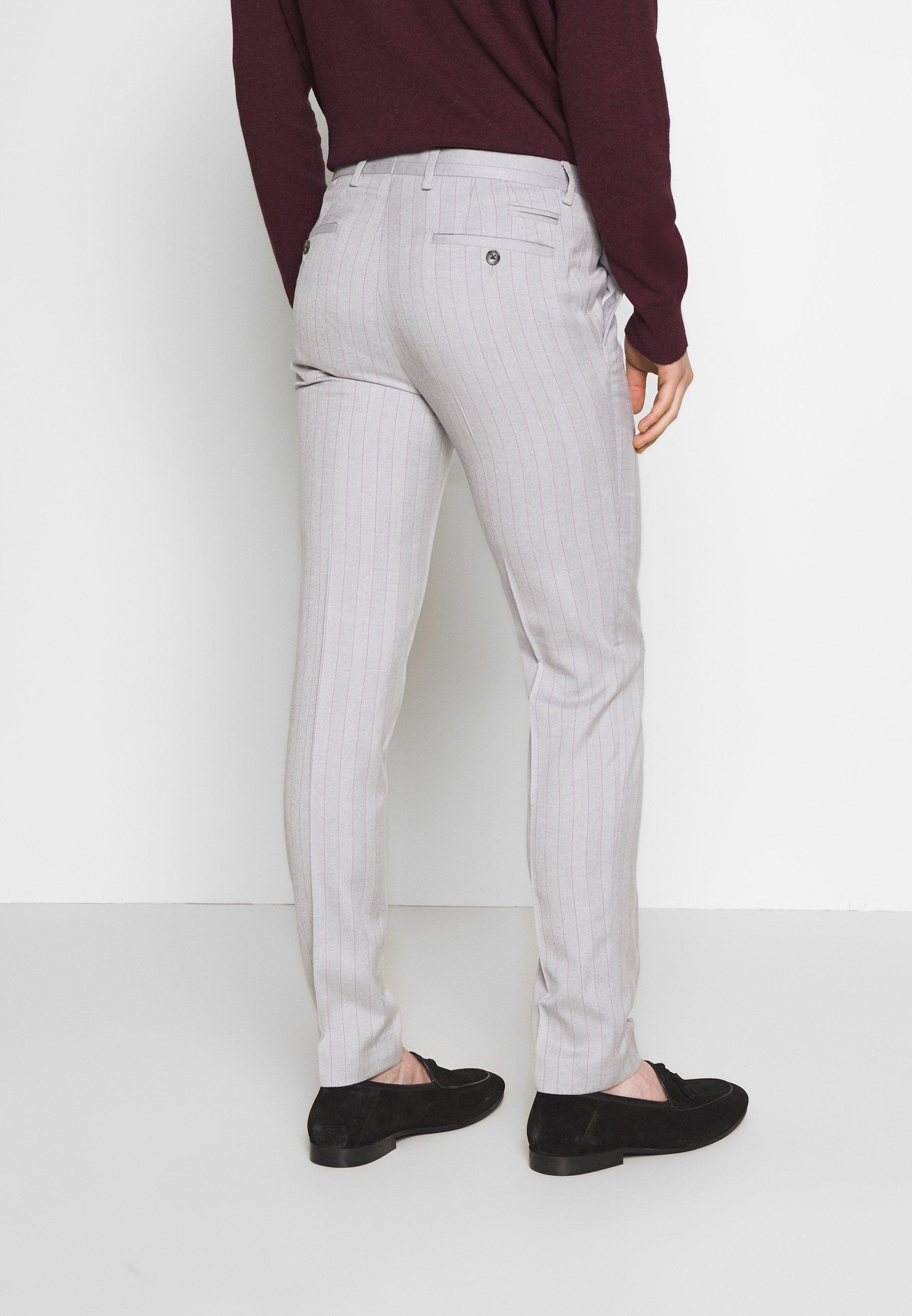 1904 Bone Stripe Trouser Skinny - Kostymbyxor Grey