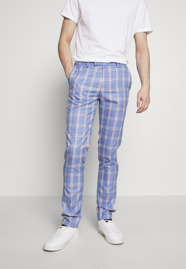 ASHER GRID CHECK TROUSER - Suit trousers - light blue