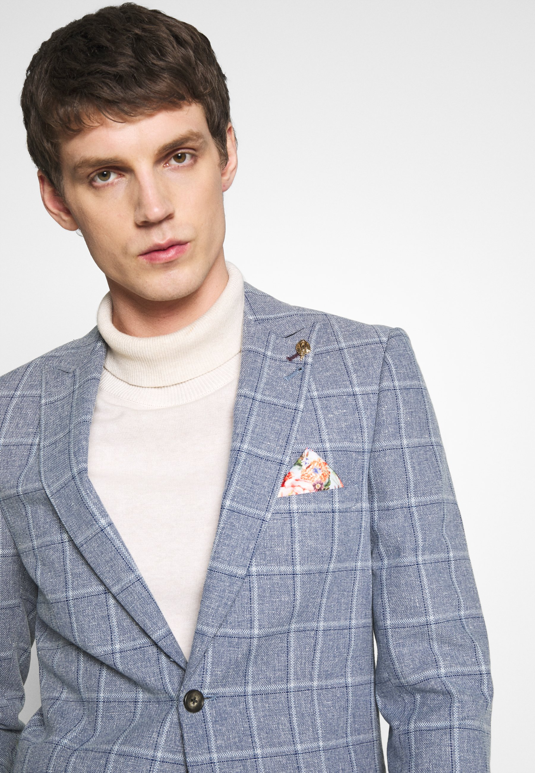1904 Blend Over Check Suit Jacket Slim - Kavaj Mid Blue