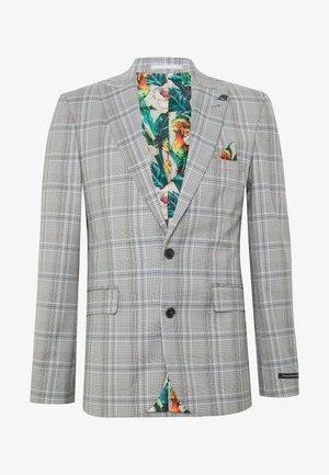 LARGE GRID CHECK JACKET SKINNY - Suit jacket - mid grey