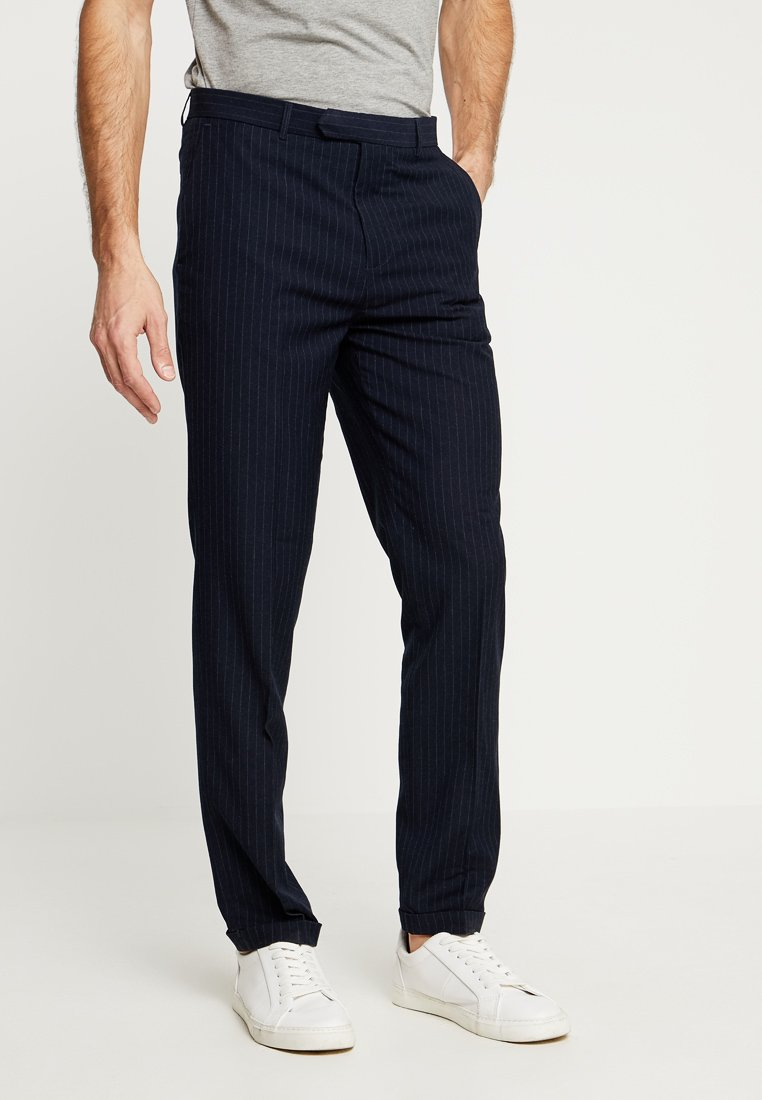 1904 - CROPPED PIN STRIPE TROUSER - Suit trousers - navy