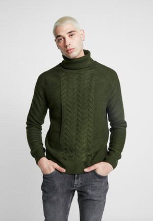 JAMIE CHUNKY PLACEMENT CABLE ROLL NECK - Jumper - green
