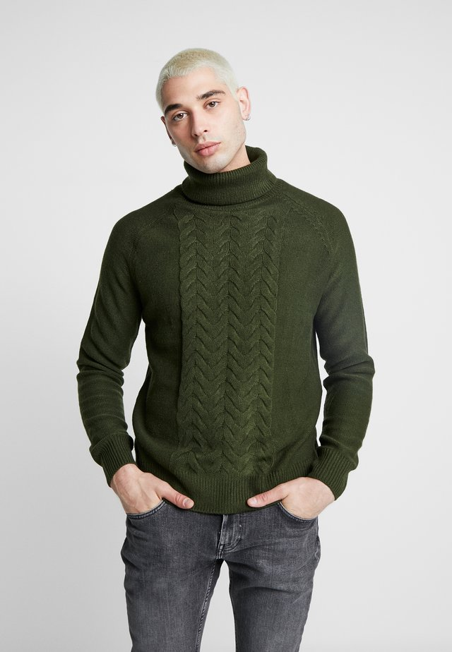 JAMIE CHUNKY PLACEMENT CABLE ROLL NECK - Strickpullover - green