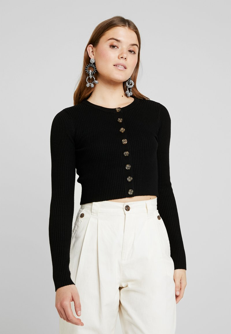 Warehouse - CROPPED CARDIGAN - Cardigan - black