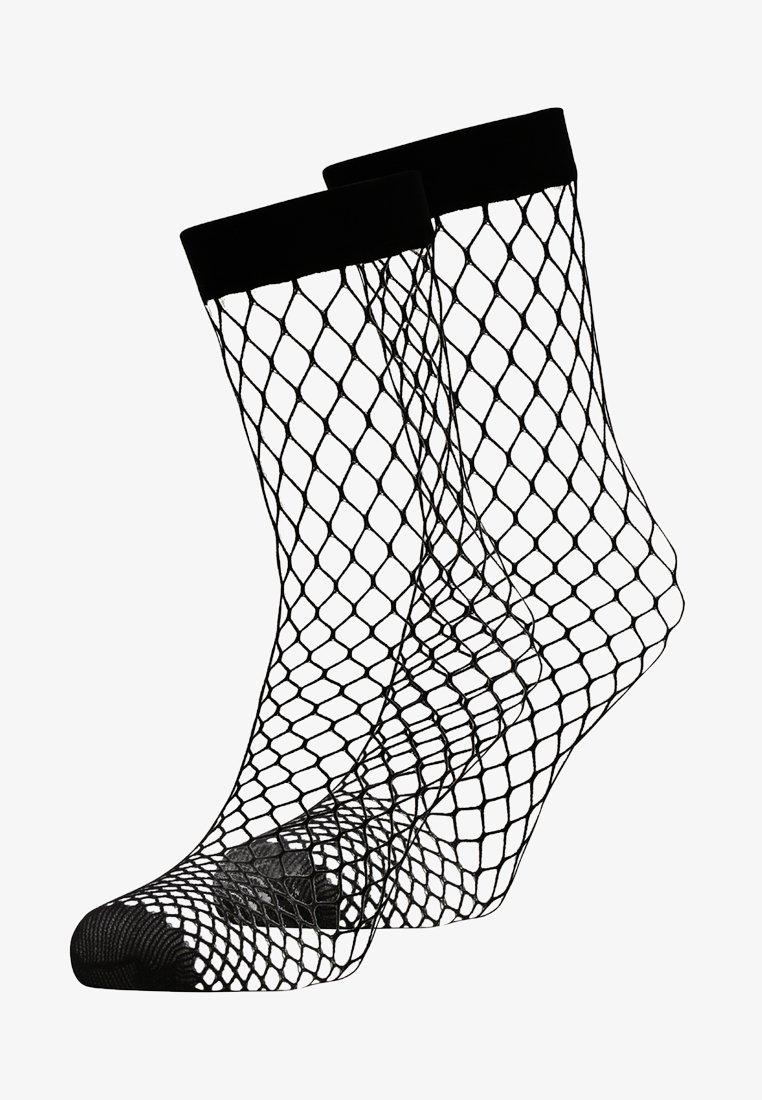 DKNY Intimates - LARGE FISHNET ANKLET 2 PACK - Socks - black