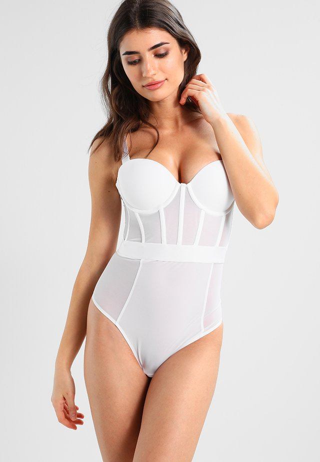 SHEERS CUPPED STRAPLESS BODYSUIT - Body / Bodystockings - white