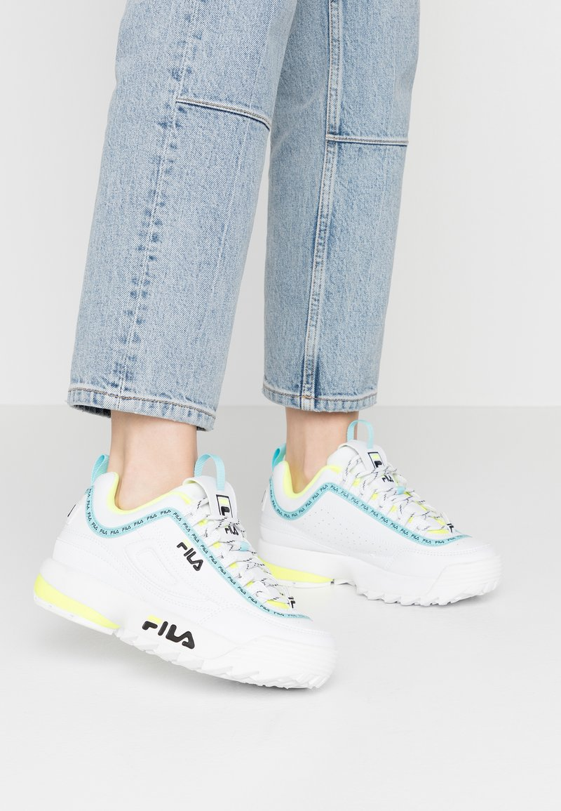 Fila - DISRUPTOR LOGO - Baskets basses - white/black/neon lime