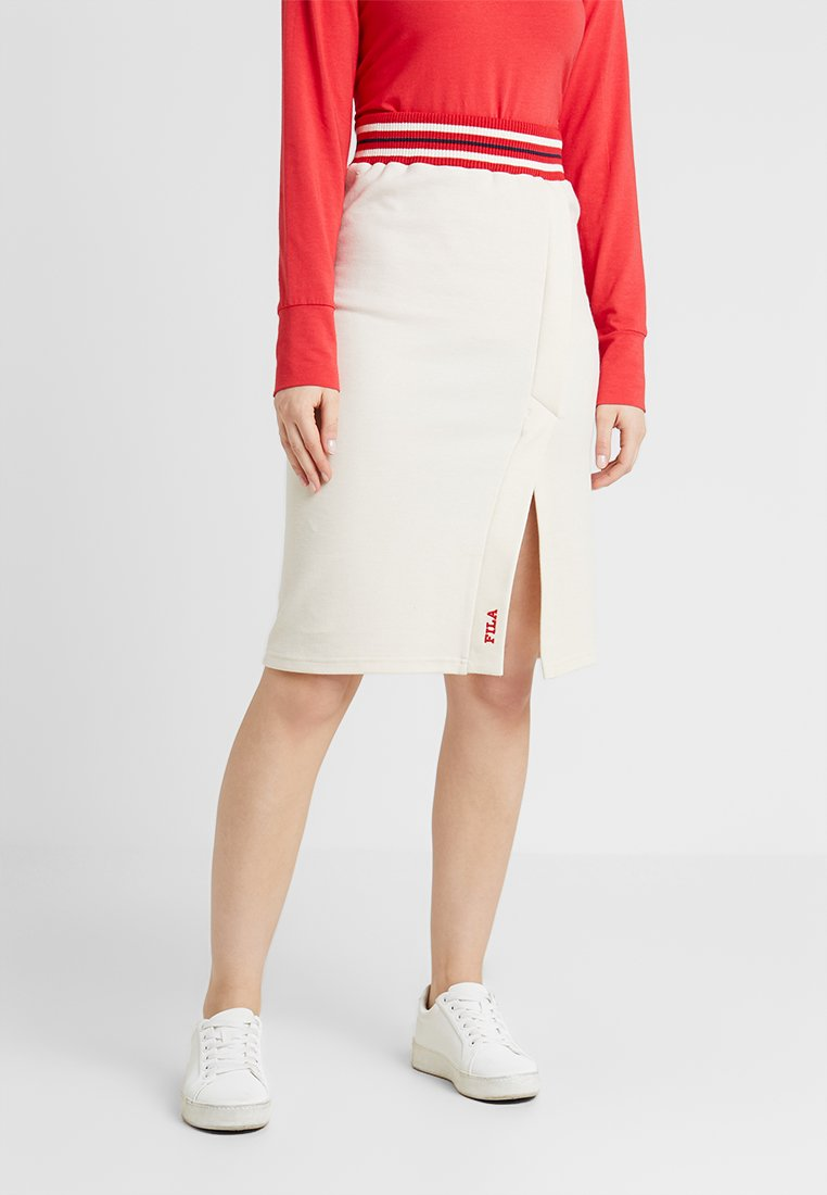 Fila - HANNAH SKIRT WITH STRIPED WAIST - Bleistiftrock - whitecap grey