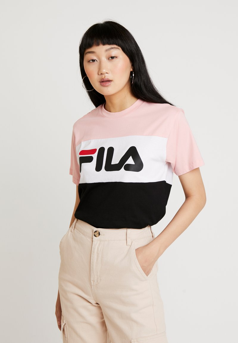 Fila - ALLISON TEE - Camiseta estampada - black/pink/bright white