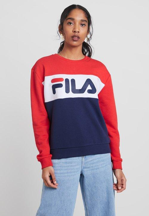 dobrze rozwinięty Fila LEAH CREW - Bluza - dark blue/true red/bright white Odzież Damska ZCYI-QN8