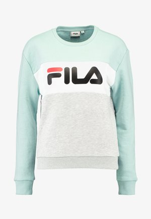LEAH CREW - Bluza - light grey melange/ bright white/mist green