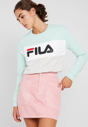 LEAH CREW - Sweatshirt - light grey melange/ bright white/mist green
