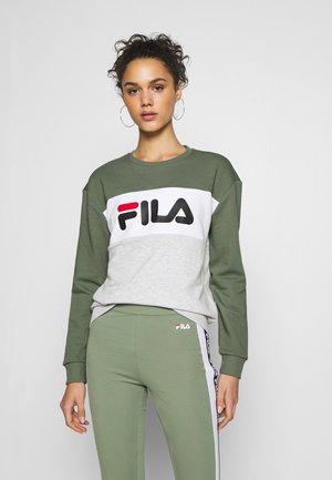 LEAH CREW - Sweatshirt - sea spray light grey melange bros bright white