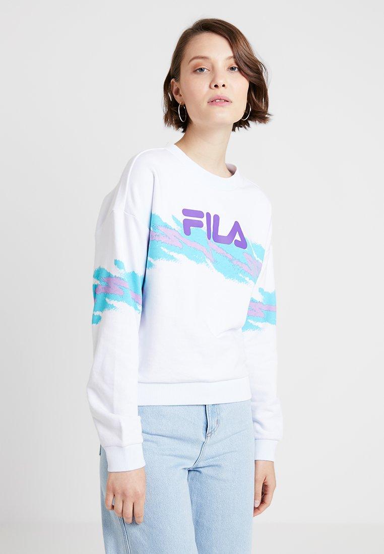 Fila - JUSTYNA BUTTONED CREW - Sweatshirt - bright white/blue curacao