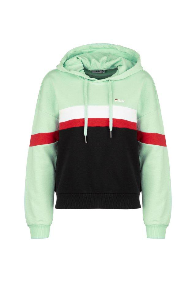 Kapuzenpullover - mist green / black / bight white / true red