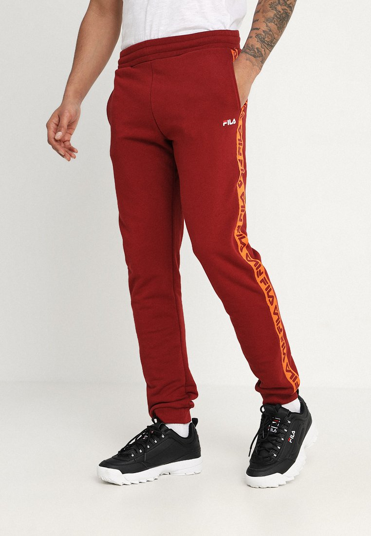 Fila - TADEO TAPE PANT - Tracksuit bottoms - merlot